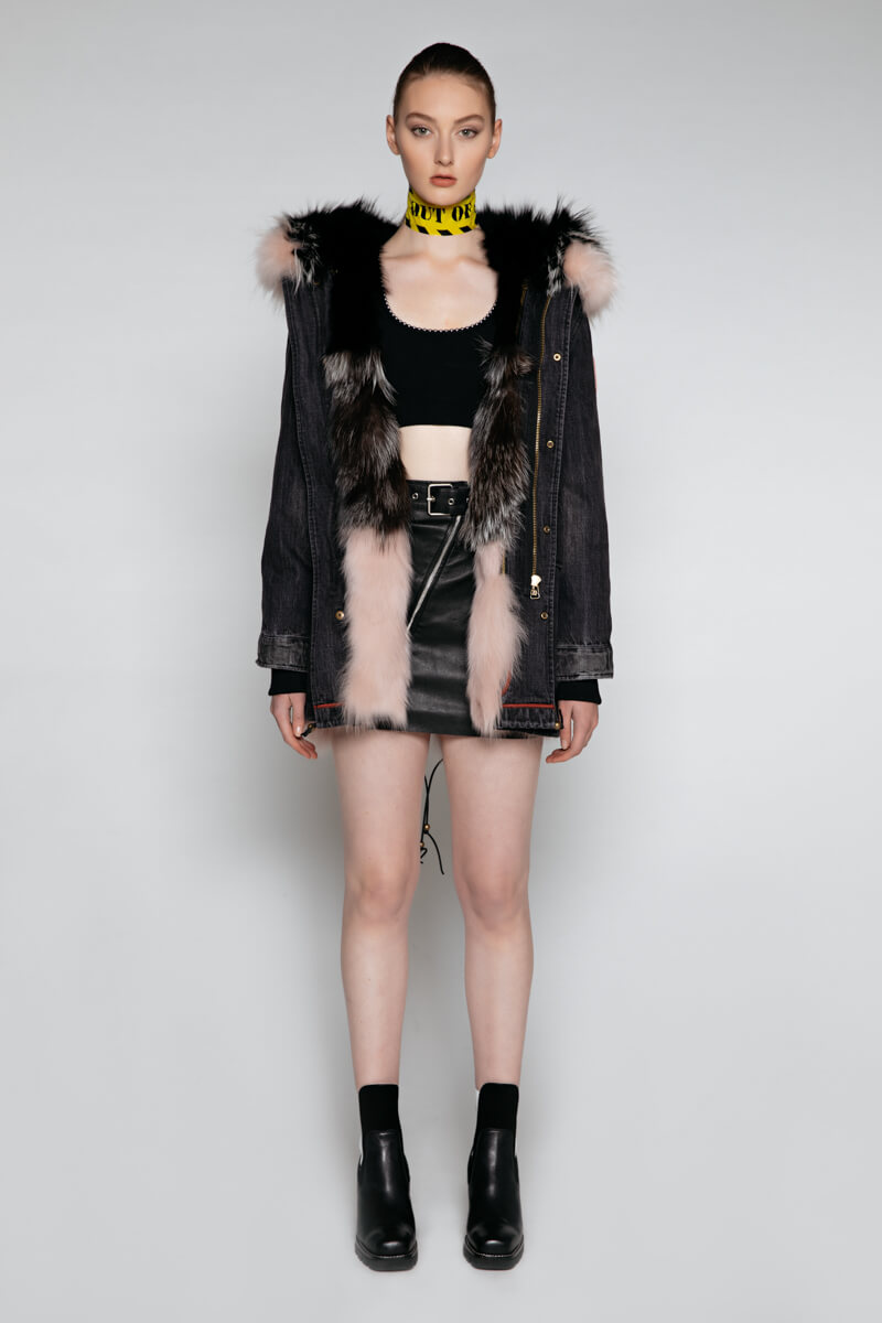 EDGII DEMIN BLACK PARKA PATCH FOX FUR BLACK & PALE PINK