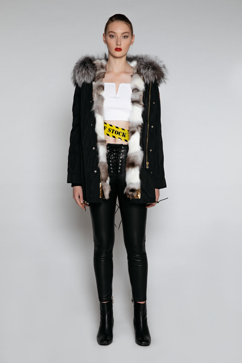 EDGII BLACK PARKA PATCH FOX FUR HUSKY GREY