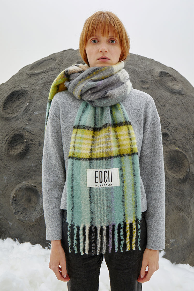 Icey Green Cotton Candy Woolen Scarf