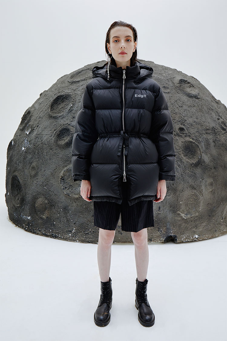 Drawstring Waist Puffer Space Jacket
