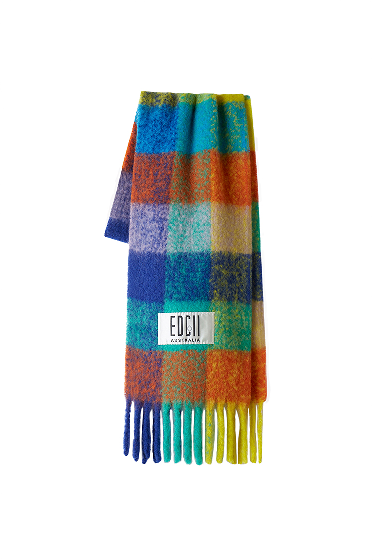 COMBO RAINBOW PLAID COTTON CANDY WOOLEN SCARF