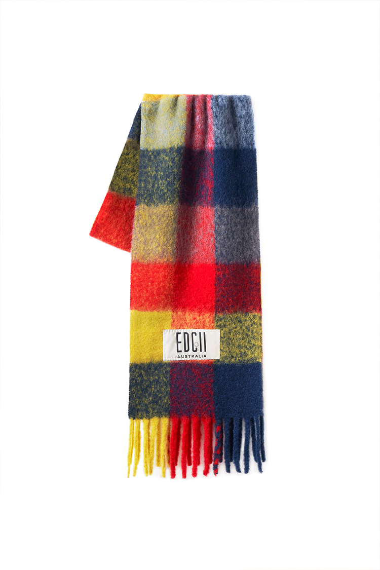 GINGER BERRY PLAID COTTON CANDY WOOLEN SCARF