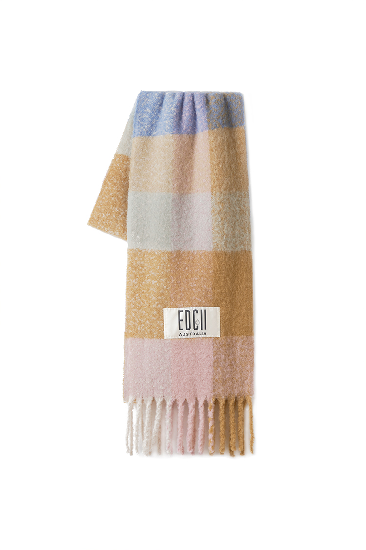 AIRY BLUE BROWN PLAID COTTON CANDY WOOLEN SCARF