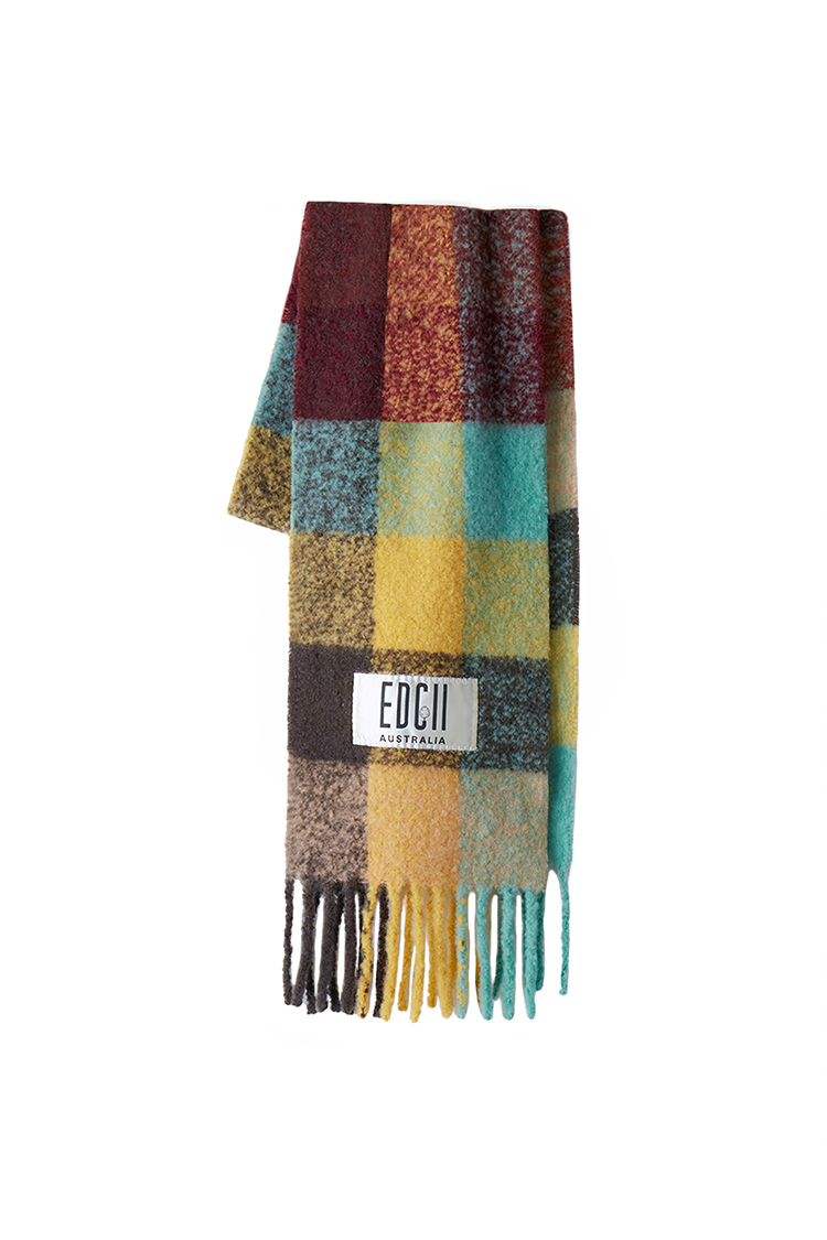 MYSTERIOUS OASIS PLAID COTTON CANDY WOOLEN SCARF